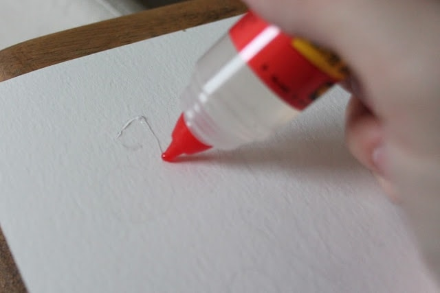 Writing out words with glue