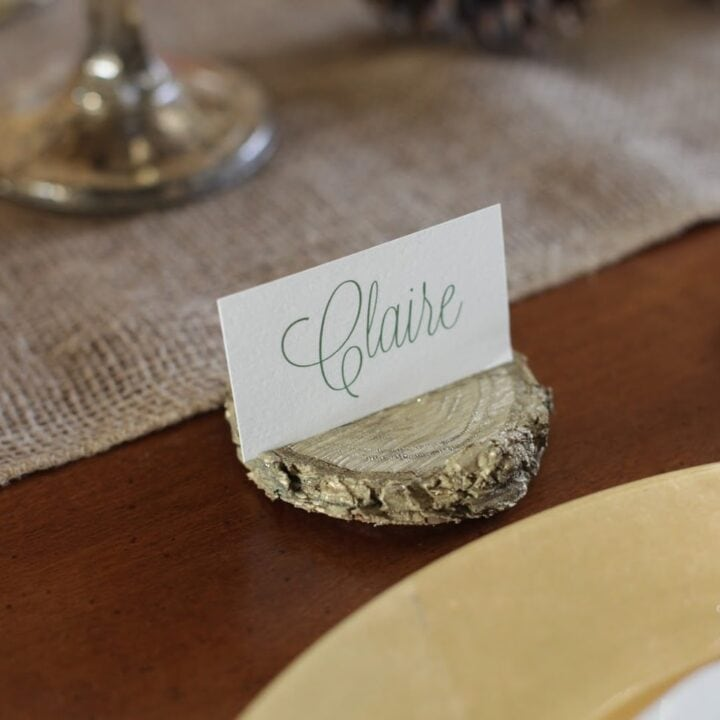 wood chip place card holder with name card at place setting