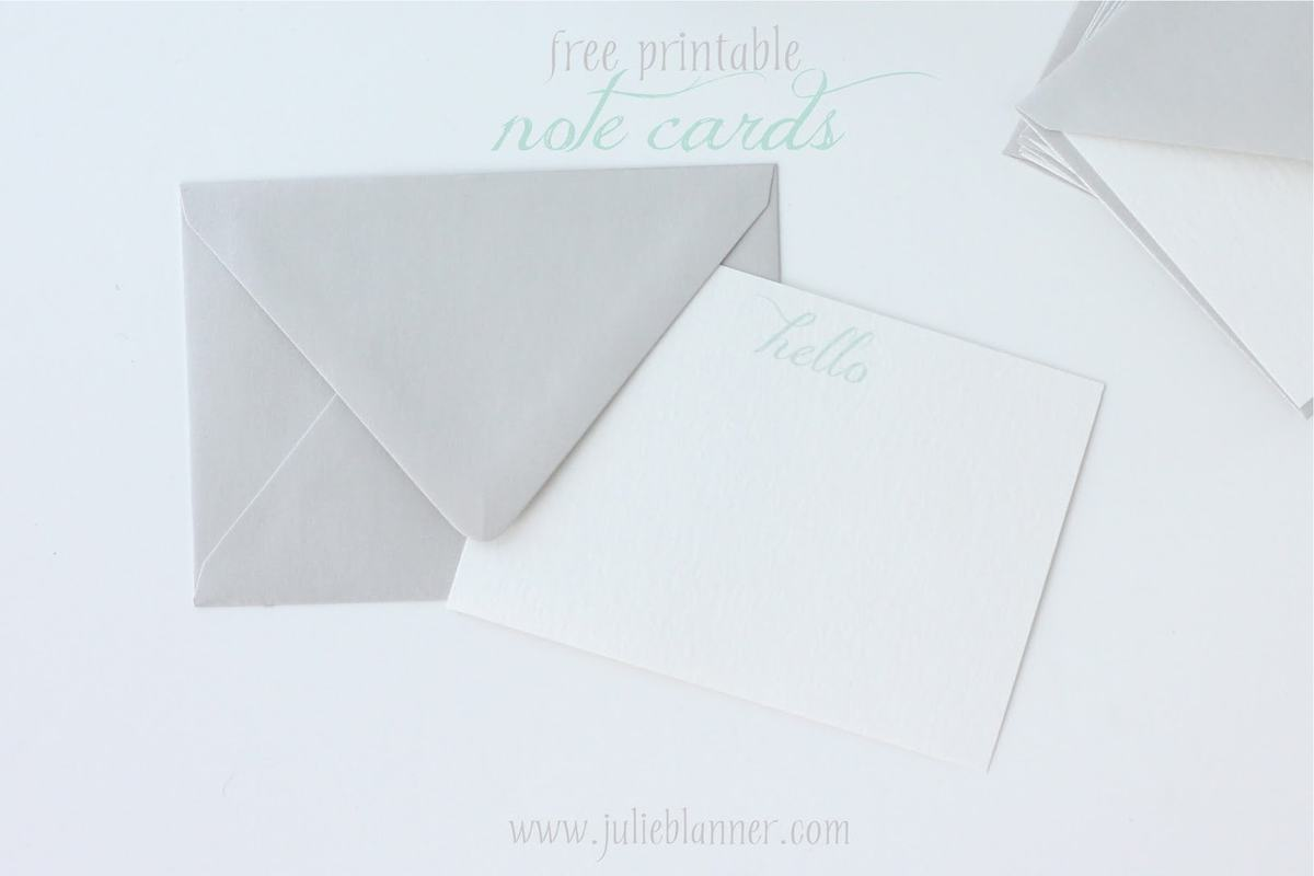 graphic relating to Printable Notecard named Absolutely free Printable Notecards - Julie Blanner