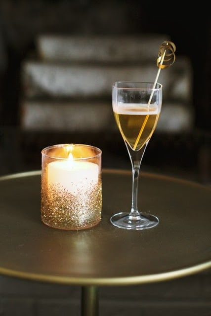 glitter votives & DIY drink stirrers
