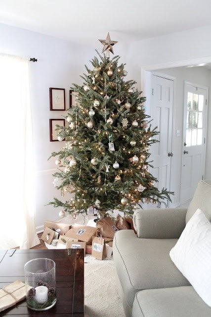 A living room filled with furniture and a decorated Christmas tree.
