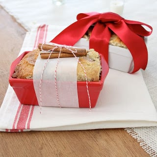 Cinnamon Bread in holiday loaf pans wrapped in ribbon.