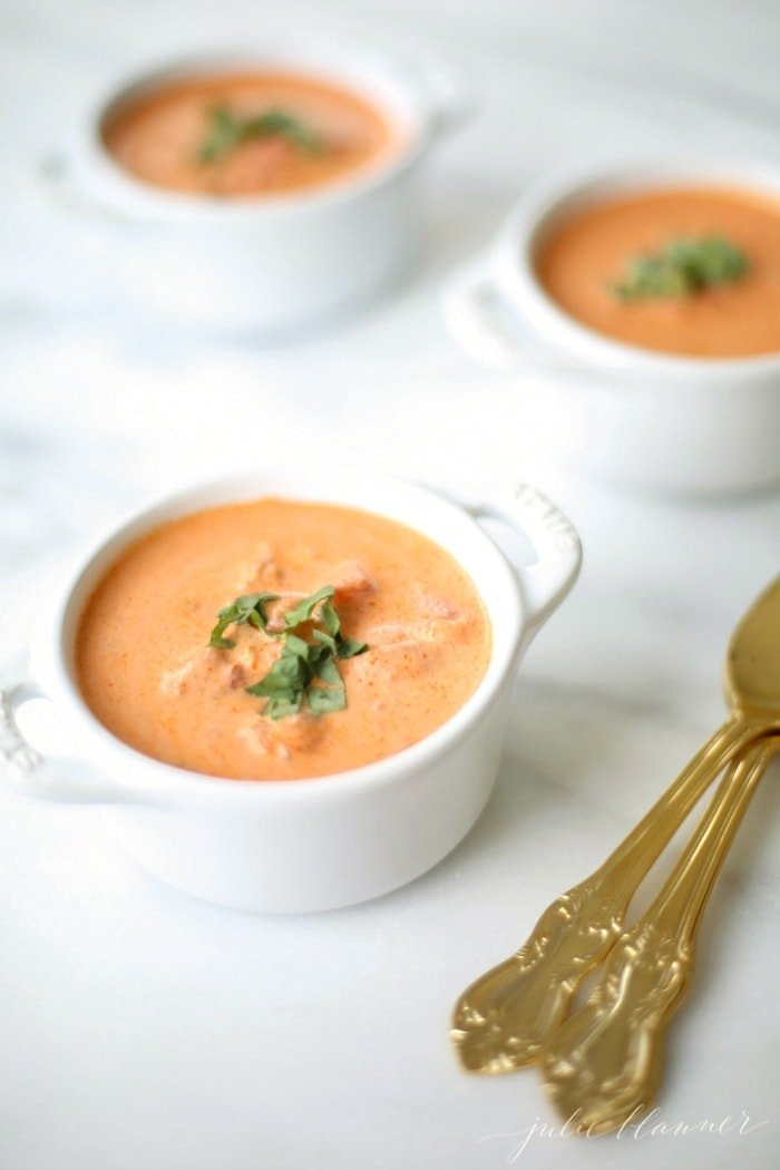 Easy creamy tomato soup recipe - a quick dinner that pairs perfectly with grilled cheese! Easy creamy tomato soup recipe - a quick dinner that pairs perfectly with grilled cheese!