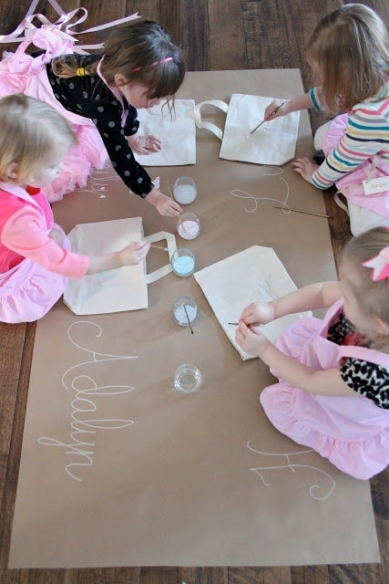 Little girls painting together
