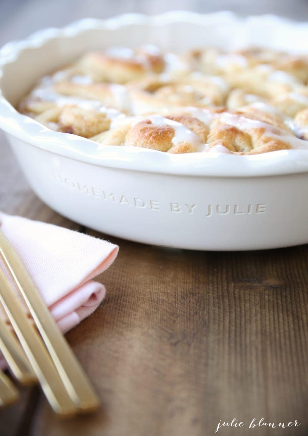 Close up of the rolls in a personalized pie dish