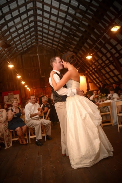 The bride and groom slow dancing