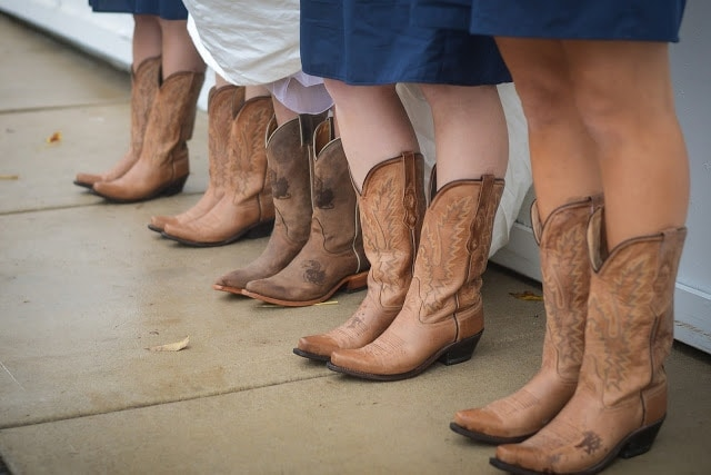 A group of people wearing cowboy boots.