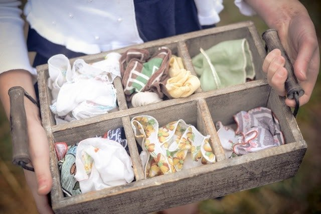 Scarves in a wooden box