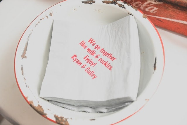 A napkin with a quote from the bride and groom on it.