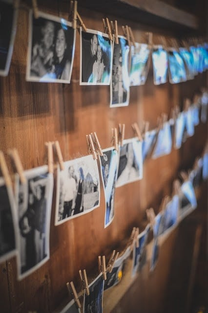 Pictures hanging on clothespins
