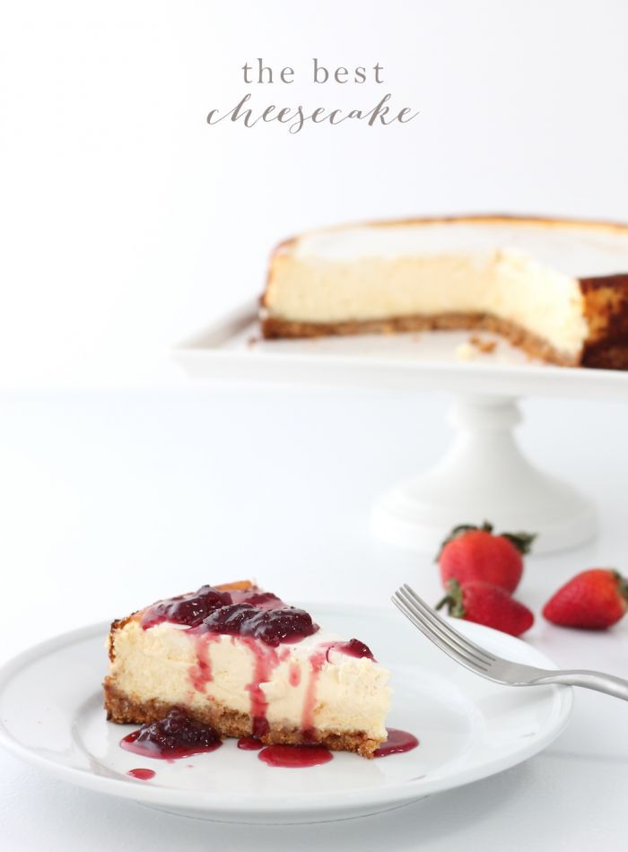 The BEST cheesecake recipe | this recipe is incredibly creamy & especially dreamy when topped with a strawberry pinot reduction