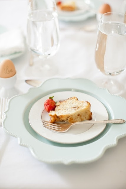 A mint colored plate with easter brunch on it.