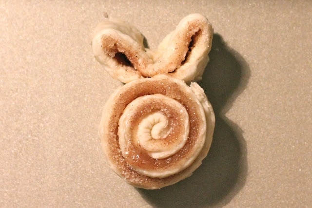 The bunny cinnamon roll before being baked