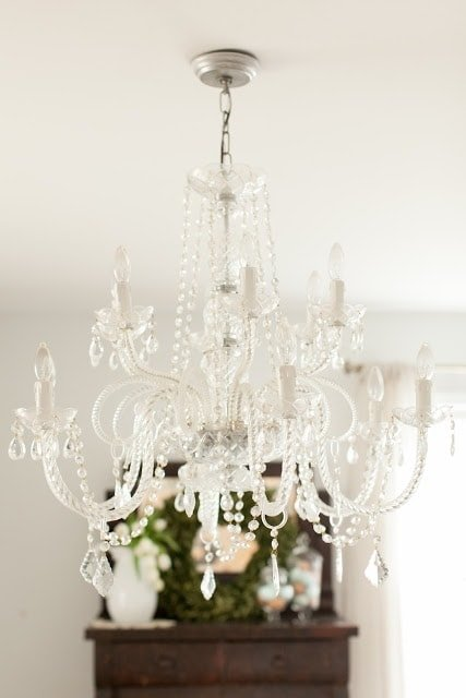A chandelier hanging from the ceiling.