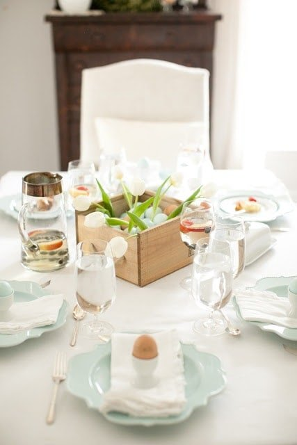 beautiful Easter brunch table setting and decor photographed by Alea Lovely