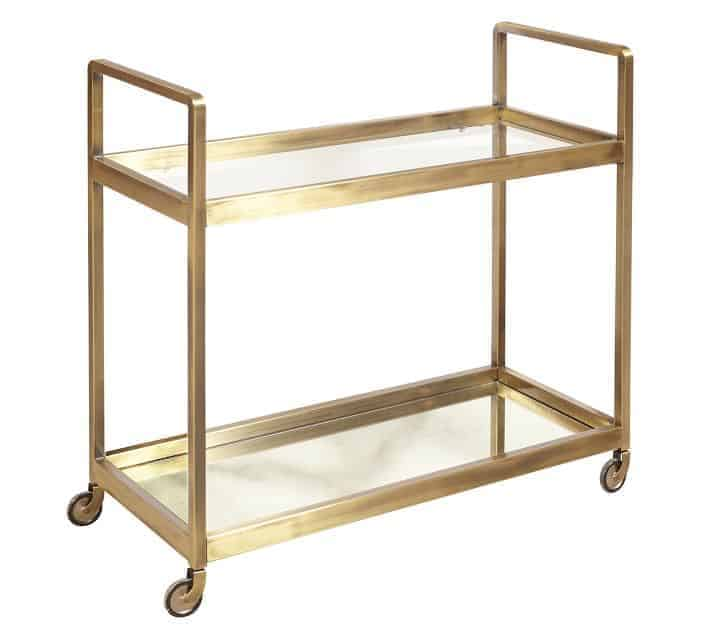 brass bar cart on a white background.