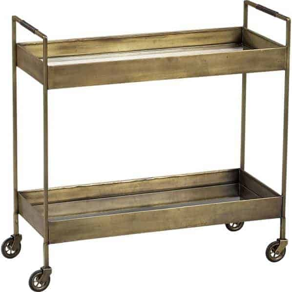libations antique brass bar cart from crate and barrel