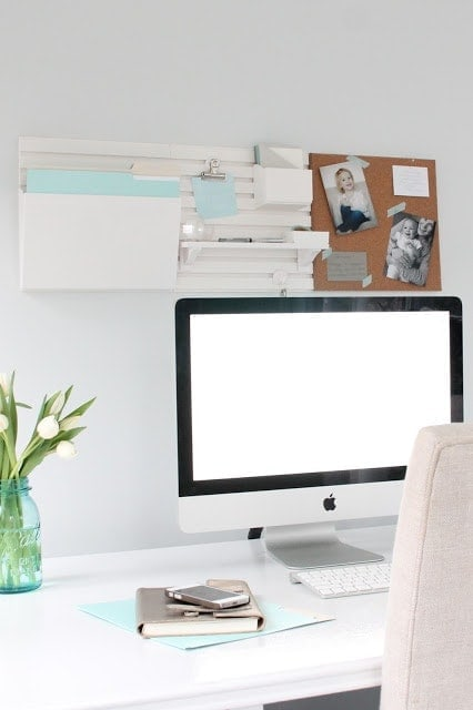 An organized and inspired office using the Martha Stewart wall system