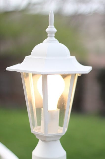 A close up of an outdoor lamp