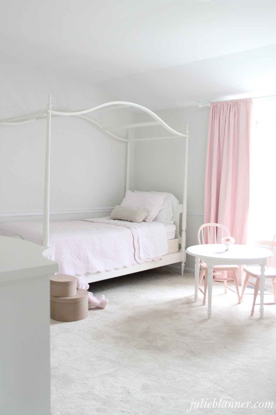 Pink And Cream Girl Bedroom. Canopy Bed