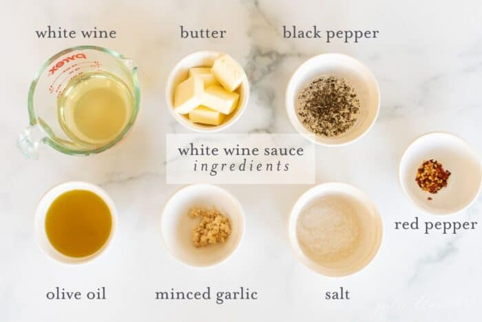 white wine sauce ingredients with text overlay