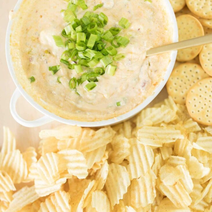bacon cheddar dip surrounded by ruffle chips