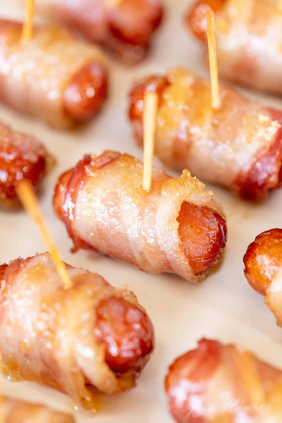 little smokies wrapped with bacon and toothpicks