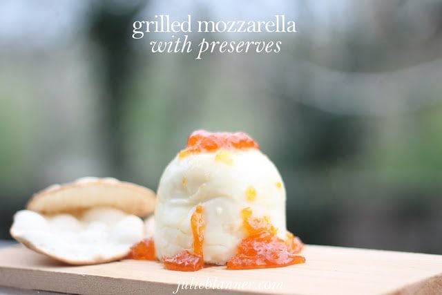 Grilled mozzarella topped with preserves