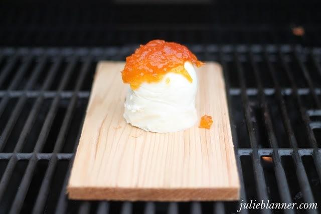 Mozzarella on a cedar plank on the grill