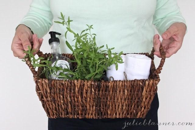 Bathroom supplies in a woven basket.