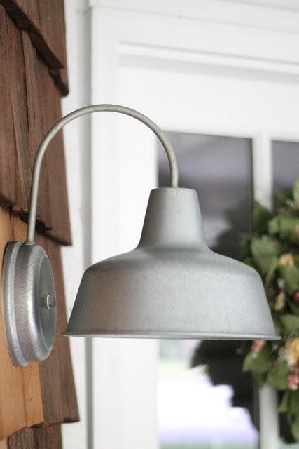A silver outdoor light