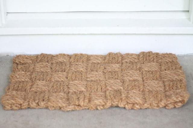 A brown door mat