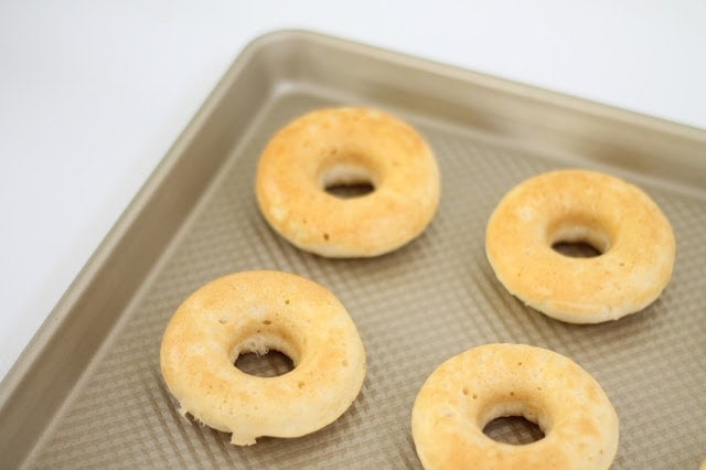 Baked doughnuts before icing