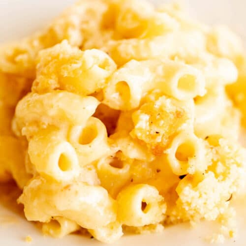mac and cheese piled on plate