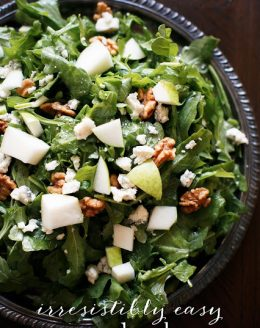 pear salad recipe piled high on a silver platter