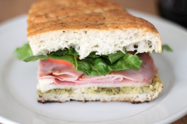 The focaccia sandwich on a plate ready to eat