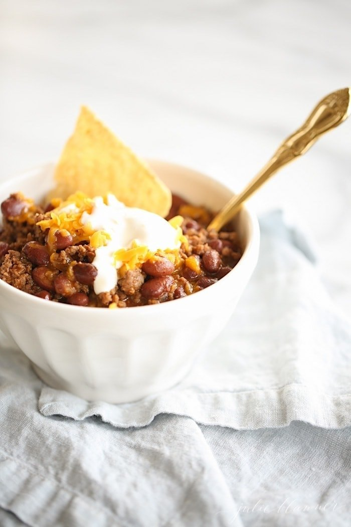 easy homemade chili con carne served in a white bowl