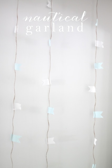 A close up of nautical garland on the wall