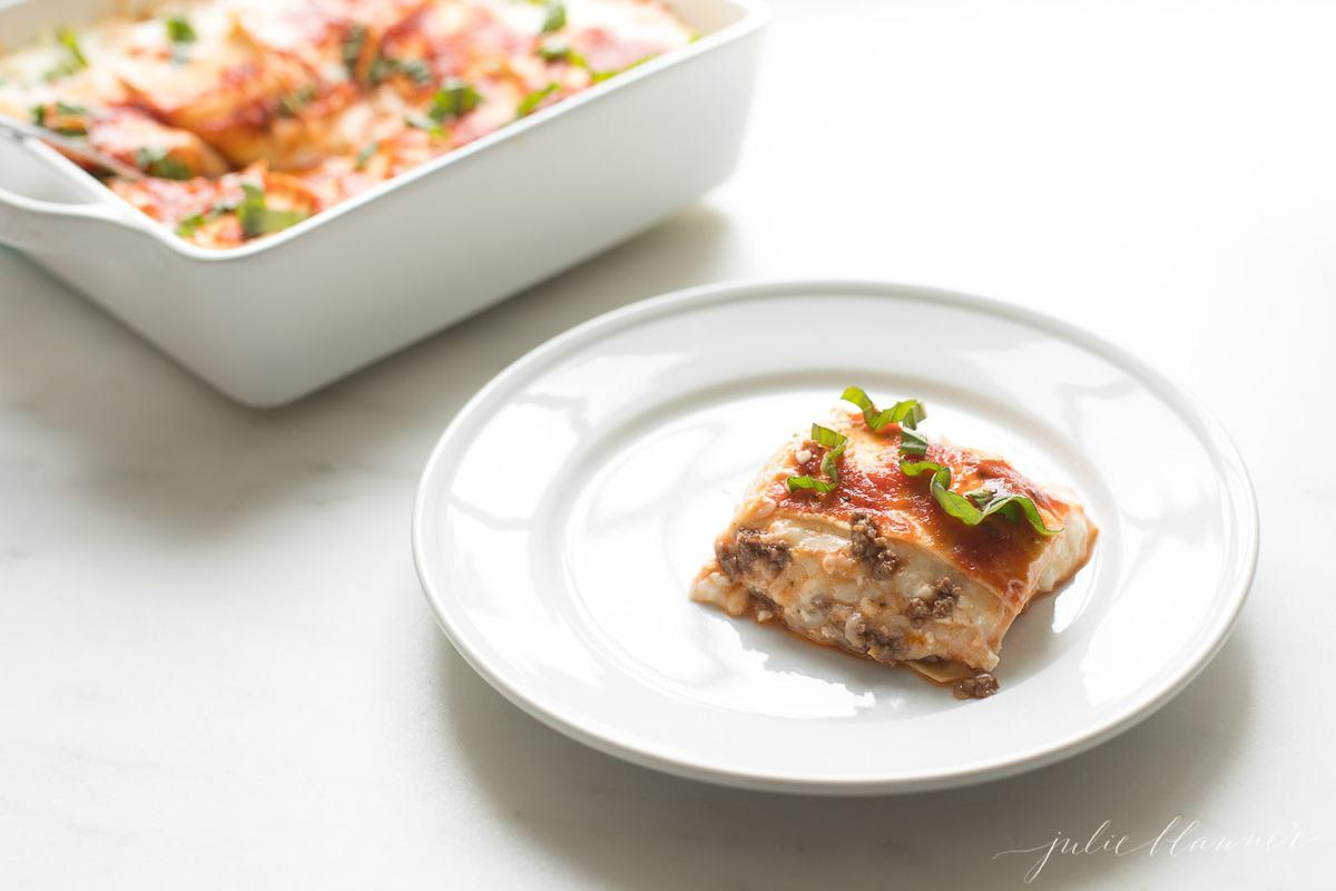 plate of homemade lasagna