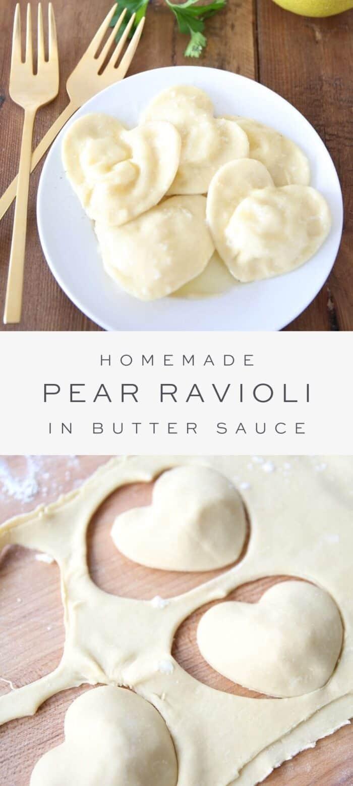 homemade pear ravioli on plate, overlay text, pear ravioli dough