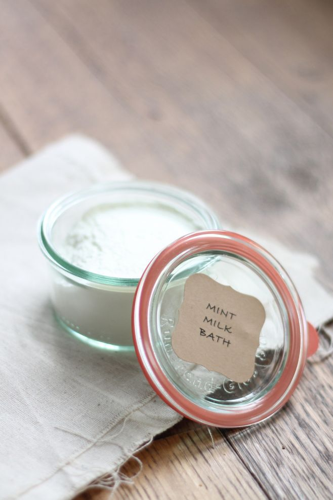 mint milk bath with label