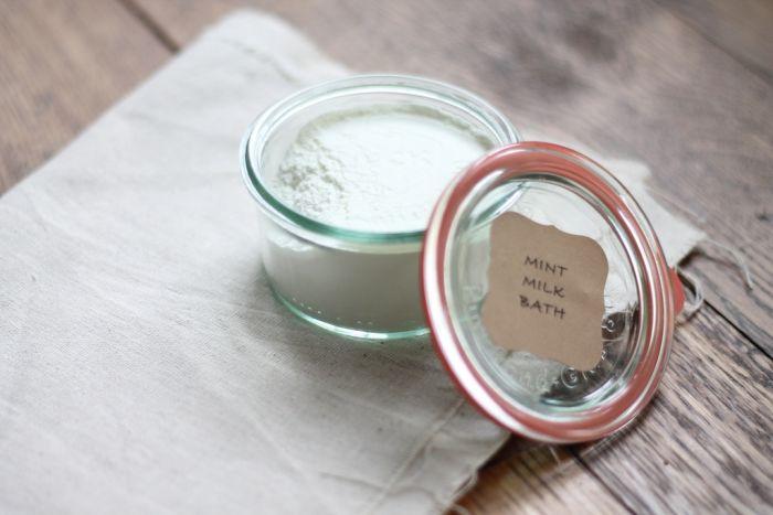 mint milk bath in jar