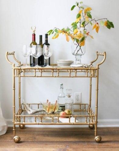Thanksgiving entertaining tips - setting up a bar cart