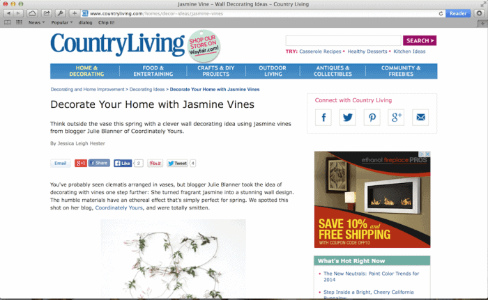 entertaining expert Julie Blanner featured on Country Living  magazine