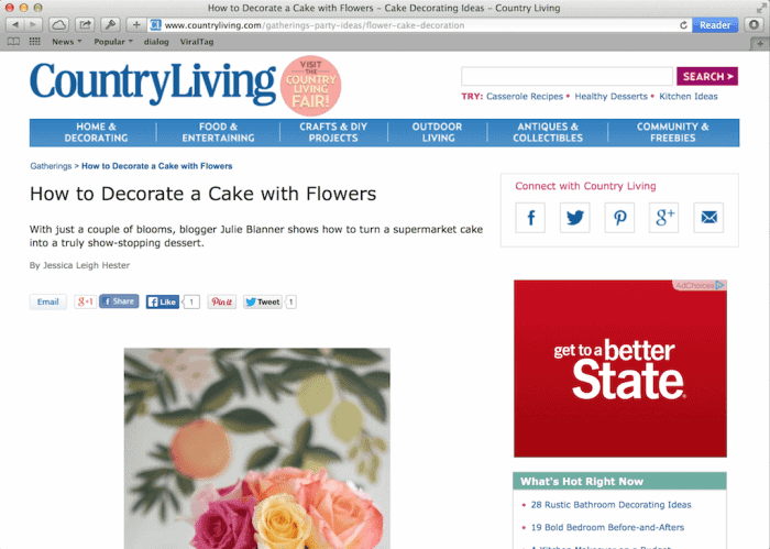 lifestyle blogger Julie Blanner shares her 5 minute rose cake on Country Living Magazine