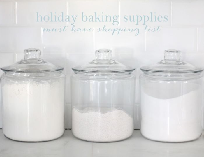 a list of essential baking supplies for the holidays