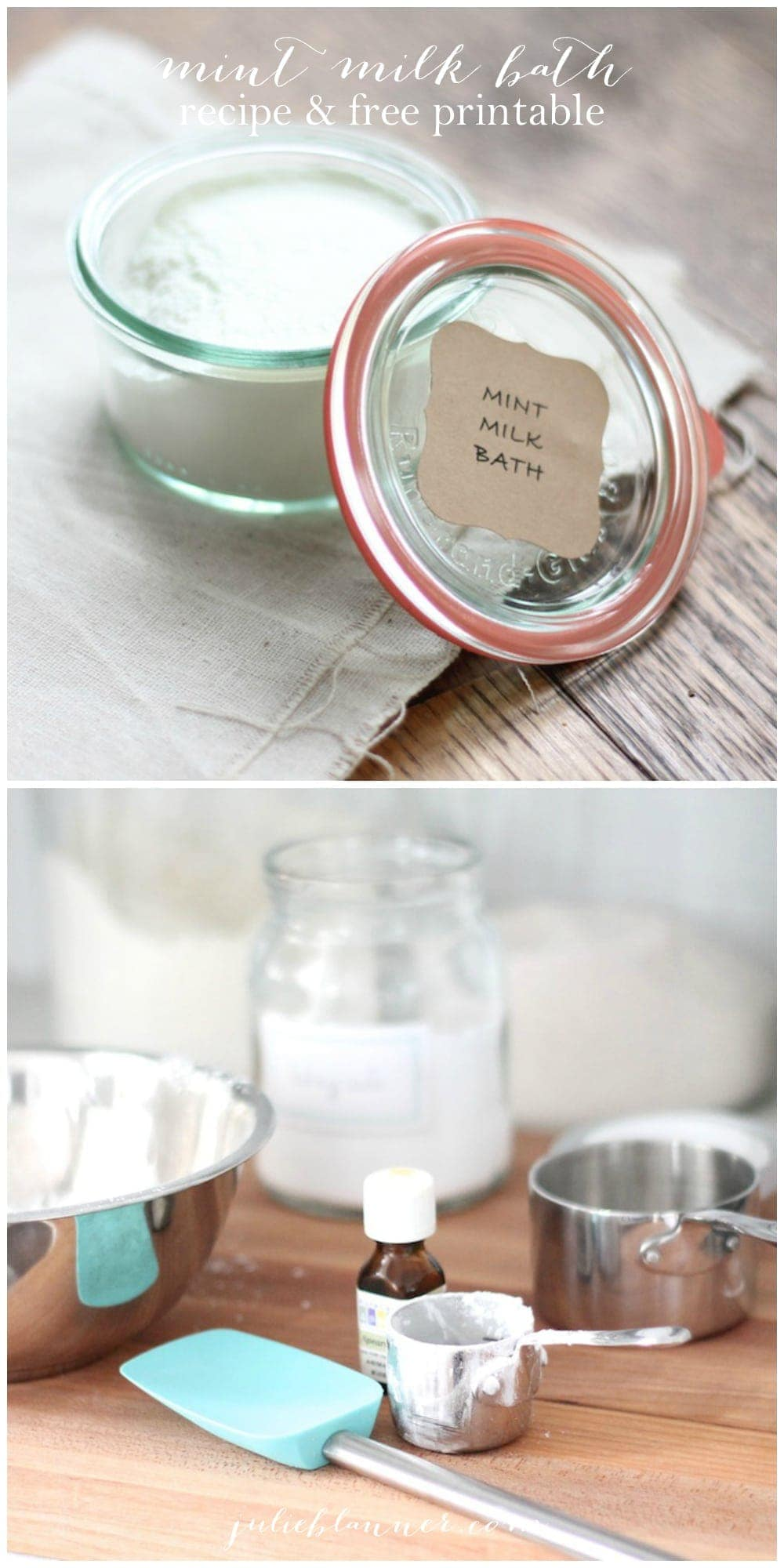 Homemade milk bath recipe & free printable label for gifting