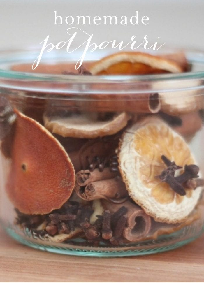 homemade potpourri recipe in glass jar with text overlay