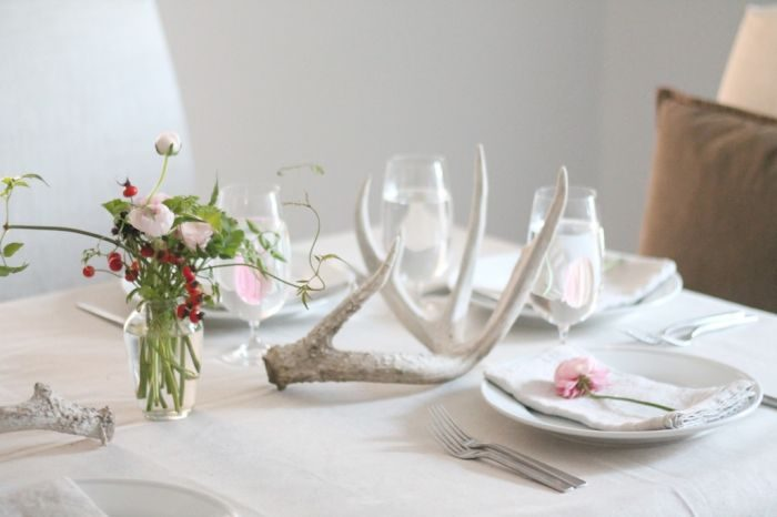 Thanksgiving table setting with antlers