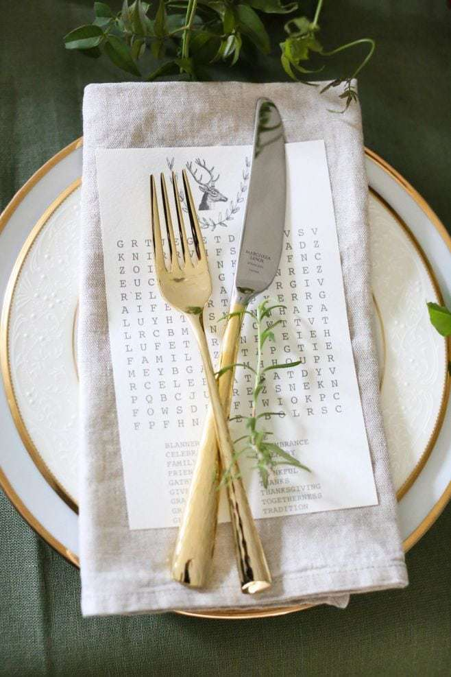 thanksgiving word search place setting